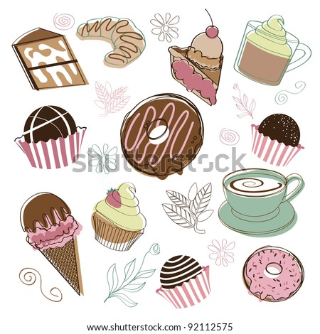 Dessert Icons EPS 8 vector, no open shapes or paths, no gradients, grouped for easy editing.