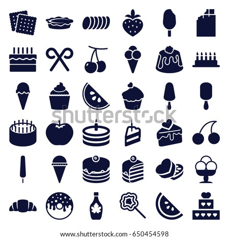 Dessert icons set. set of 36 dessert filled icons such as cherry, apple, cookies, cherry, cake, ice cream, ice cream on stick, piece of cake, donut, maple syrup, croissant