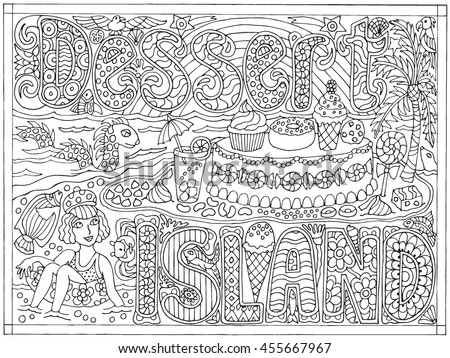 Dessert Island Hand Drawn Black And White Adult Color Book Vector Illustration