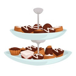 Dessert or confectionery cookies and candies on two layer dish vector chocolate and cream cakes sweet food pastry or bakery products cooking dishes culinary ingredients puff dough and souffle