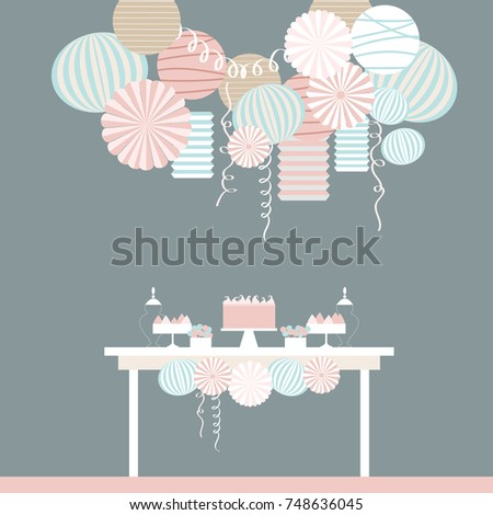 Dessert table and paper lanterns. Candy bar with cake. Vector illustration.