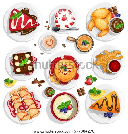 Dessert top view. Collection of different dessert foods in high detailed coloring style on white background