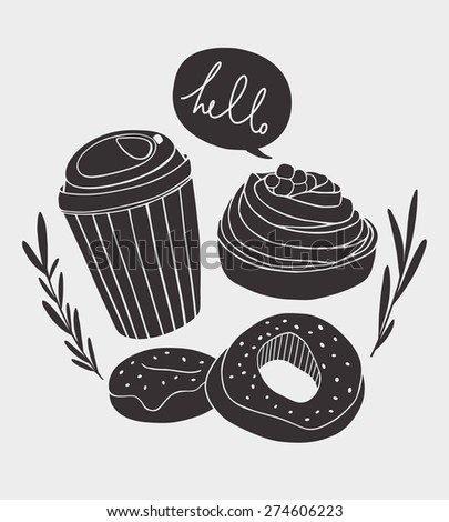 dessert vector design coffee