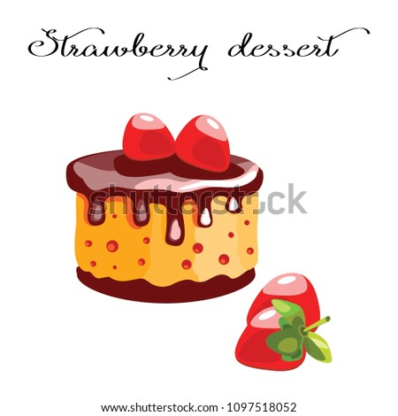 Dessert with chocolate cream and strawberries. Dessert for a menu of restaurants and cafes on a brown background. Vector illustration.