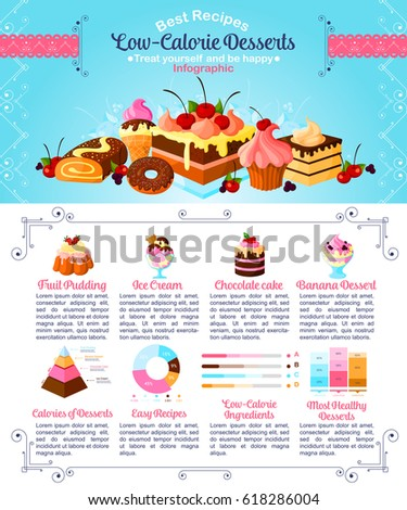Desserts and low calories infographics. Vector statistics poster on sweet sugar cakes healthy ingredients and nutrition facts of baked tortes and cupcakes, confectionery puddings and chocolate pastry
