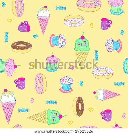 Desserts and Sweets Seamless Repeat Pattern Vector Illustration #29523526