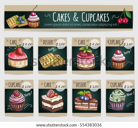 Desserts price cards. Vector cake with fruits and berries, crispy wafer, chocolate muffin, creamy pie, souffle cupcake, biscuit mousse. Dessert menu banner for bakery shop, cafe, cafeteria, patisserie