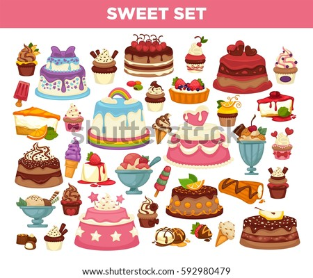Desserts set of cupcakes, pies and pastry sweets. Chocolate ice cream and fruit muffins, brownie and cheesecake and wedding or birthday cakes. Vector isolated icons for patisserie and cafe menu