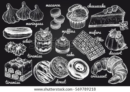 Desserts set. Vector illustration art. Sweets, cakes, biscuits, bread, baking, cookies and pastries hand drawing white chalk on a blackboard. Food vintage style.