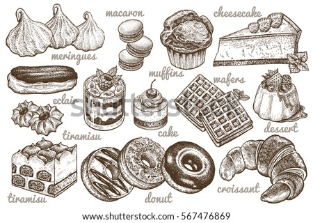 Shutterstock Desserts set. Vector illustration. Cakes, biscuits, baking, cookies, pastries, eclair, muffin, cheese cake, waffles, donuts, croissant, meringue hand drawing on white  background. Food vintage style.