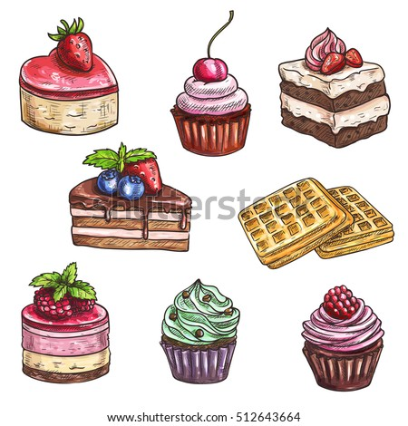 desserts sketch isolated