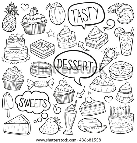 Desserts Sweets Doodle Icons Hand Made