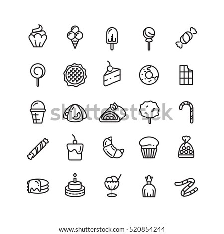 Desserts, sweets, ice cream, muffin, cakes, cupcake thin line icons