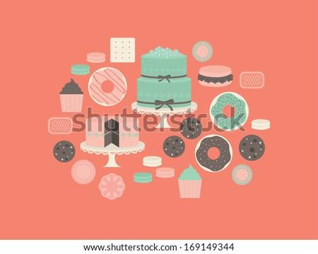 desserts vector illustration