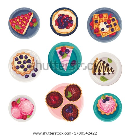 Desserts with Gaufre or Waffle and Tartlets Served on Plate Vector Set