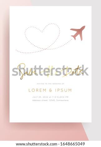 Destination Wedding  Invitation.Plane makes heart.Modern luxury vector design template.