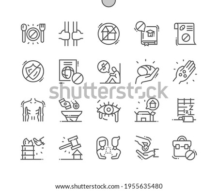 Destitution. Home deprivation. Mendicancy. Begging and beggars. Homeless, poverty, unemployed and hopeless. Pixel Perfect Vector Thin Line Icons. Simple Minimal Pictogram Foto stock ©