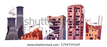 Destroyed city buildings, war destruction, abandoned town, natural disaster or cataclysm consequences. Post-apocalyptic world ruins with broken houses and plant pipes isolated cartoon vector set