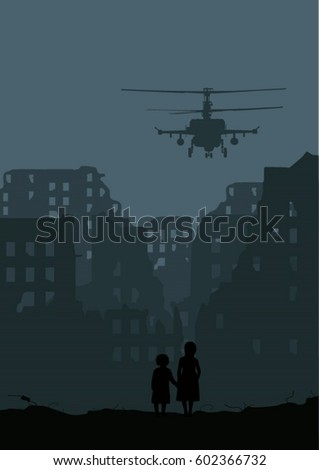 destroyed city  helicopter and