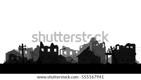 destroyed city isolated on