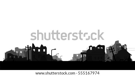 destroyed city isolated on...