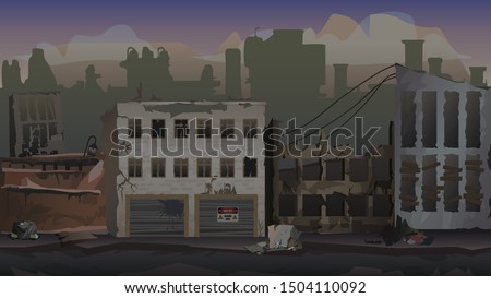 Destroyed city parallax background. Vector illustration for design, 2D games, graphics, print, web projects, magazine, book.