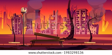 destroyed city park  war zone
