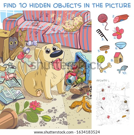 Destroyer. Pet made a mess in the house. Dog is waiting for the return of its owner at home. Find 10 hidden objects in the picture. Puzzle Hidden Items. Funny cartoon character stock photo