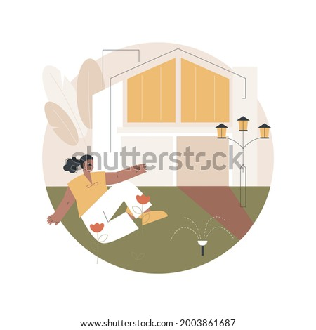 Detached house abstract concept vector illustration. Single family house, stand-alone household, single-detached building, individual land ownership, unattached dwelling unit abstract metaphor. Stockfoto ©