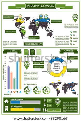 Detail info graphic with ecological symbols. World Map of eco recources and Human Population Graphics data summary. Vector illustration
