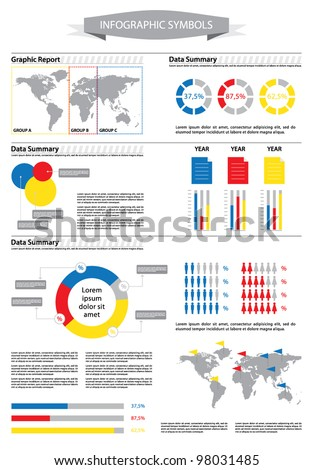 Detail info graphic with human figurines and statistic data. World Map and Business Graphics data summary. Vector illustration