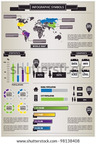 Detail info graphic with human figurines. World Map and Human Population Graphics data summary. Vector illustration
