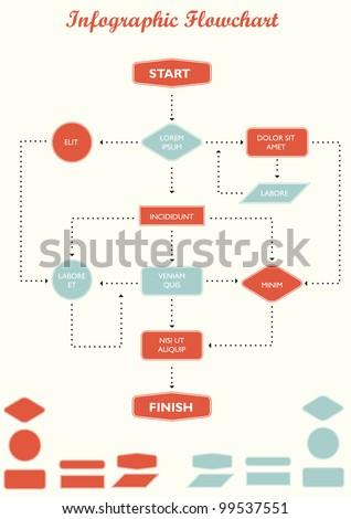Detail infographic flowchart vector illustration.