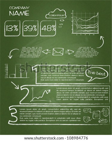 Detail infographic vector illustration. Drawn with chalk on a blackboard. Esy to edit