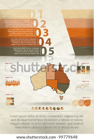 Detail infographic vector illustration. Map of Australia and Information Graphics. Easy to edit countries