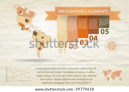 Detail infographic vector illustration. Map of North and South America and Information Graphics. Easy to edit countries