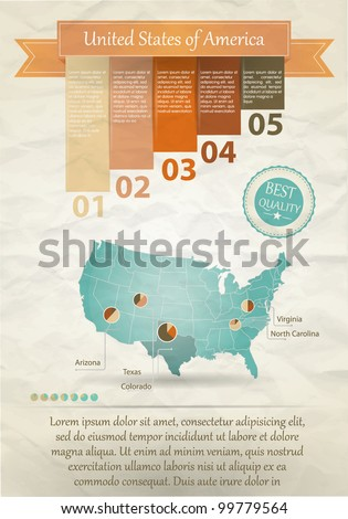 Detail infographic vector illustration. Map of the United States of America and Information Graphics. Easy to edit states