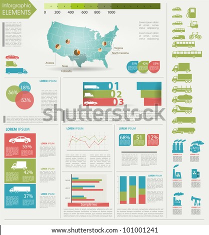 Detail infographic vector illustration. Map of USA, icon of car and factory, and Information Graphics. Easy to edit states