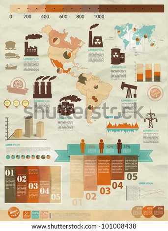 Detail infographic vector illustration with. Map of America, industrial infographics and Information Graphics. Easy to edit countries
