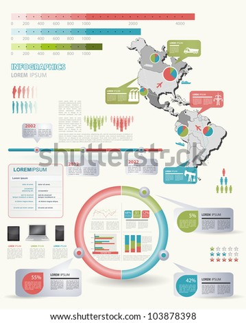 Detail infographic vector illustration with. Map of America, industrial infographics and Information Graphics. Easy to edit states