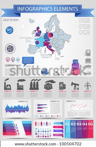 Detail infographic vector illustration with. Map of Europe, industrial infographics and Information Graphics. Easy to edit countries
