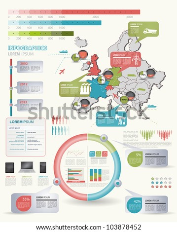 Detail infographic vector illustration with. Map of Europe, industrial infographics and Information Graphics. Easy to edit states