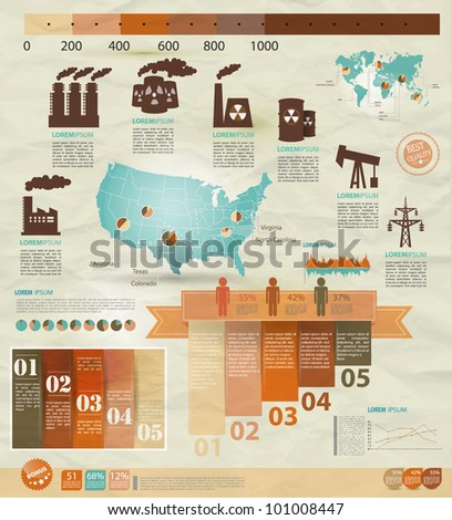 Detail infographic vector illustration with. Map of United States of America, industrial infographics and Information Graphics. Easy to edit states