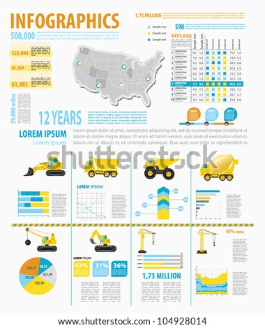 Detail infographic vector illustration with. Map of United States of America, industrial  and buinding infographics and Information Graphics. Easy to edit states