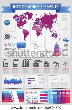 Detail infographic vector illustration with. Map of world, industrial infographics and Information Graphics. Easy to edit countries