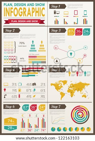 Detail Infographic Vector Illustration. World Map And Information ...