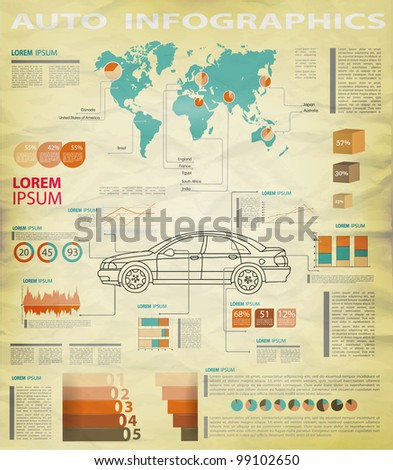 Detail infographic vector illustration. World Map and Information Graphics. A summary of the car