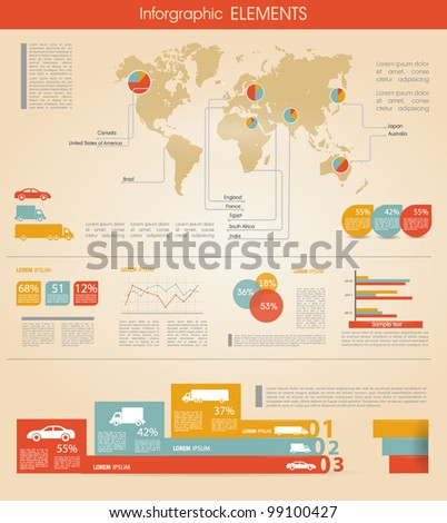 Detail infographic vector illustration. World Map and Information Graphics summary info about cars and manufacture