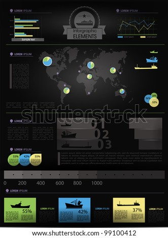 Detail infographic vector illustration. World Map and Information Graphics. Summary info about the ships and offshore manufacture