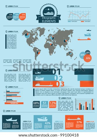 Detail infographic vector illustration. World Map and Information Graphics summary info about the ships and offshore manufacture